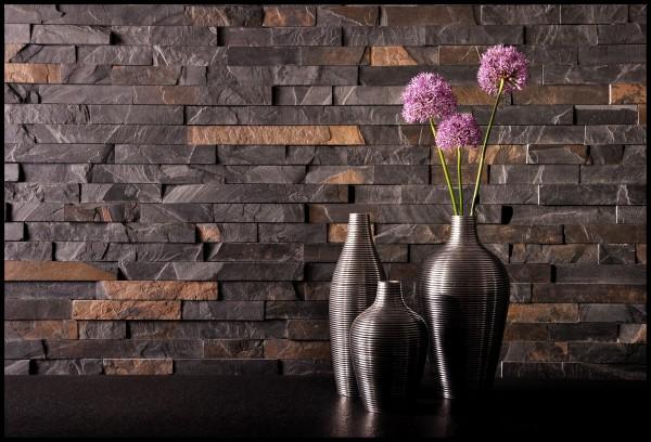 Aranżacja ściany w salonie, Łupek w domu, Wnętrze z kamienia